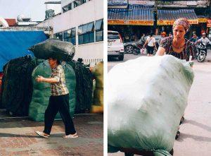 Nhọc nhằn trên vai nữ cửu vạn chợ Đồng Xuân