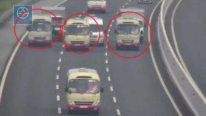 Clip: 3 xe khách dàn hàng ngang trên cao tốc Hà Nội – Hải Phòng