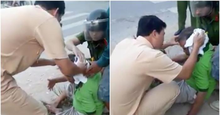 Đại úy CSGT ở Thanh Hoá cởi áo cầm máu cho người đàn ông bị TNGT