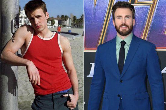 """""""Captain America"""" Chris Evans sinh năm 1981, bắt đầu đóng điện ảnh từ thập niên 2000. Ở đầu sự nghiệp, anh hay được giao các vai điển trai, tính cách sôi nổi. Evans từng đóng người hùng Human Torch trong loạtFantastic Fourtrước khi tham gia Vũ trụ Điện ảnh Marvel. Tài tử khổ luyệncơ bắpđể hóa thân Captain America chín năm qua."""