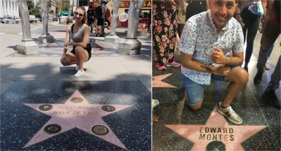 Đại lộ Danh vọng Hollywood:Với những tín đồ mê phim ảnh, âm nhạc... đại lộ Danh vọng là giấc mơ, mong ước một lần được check-in cùng ngôi sao năm cánh ghi danh thần tượng của mình. Tại đây, du khách sẽ được chiêm ngưỡng hơn 2.600 ngôi sao năm cánh trải dọc lề đường đại lộ Hollywood và phố Vine, thành phố Los Angeles. Tuy nhiên, bạn khó có thể sở hữu bức ảnh cùng ngôi sao của thần tượng mà không dính người xung quanh bởi tuyến đường này thường trong tình cảnh đông đúc. Ảnh:Hannahcastilllo, Montesedward14.