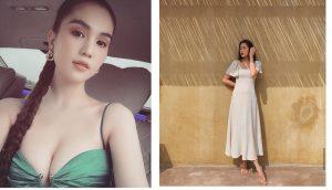Ngọc Trinh khoe vòng một 'khủng' không đỡ nổi, Hà Tăng khoe ngoại hình như gái 20