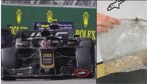 Tay đua F1 mất điểm vì túi nylon mắc vào xe