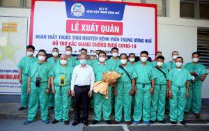 Đoàn công tác tình nguyện Bệnh viện Trung ương Huế lên đường hỗ trợ tỉnh Bắc Giang phòng chống dịch COVID-19.
