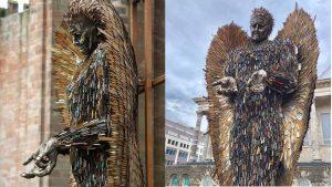 Bức tượng thiên thần 'dữ tợn' được làm từ 100.000 con dao