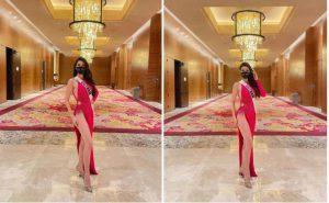 Khánh Vân diện váy xẻ cao ở Hoa hậu Hoàn vũ