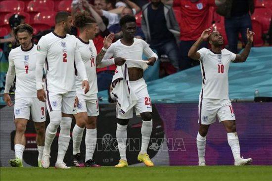 Các cầu thủ đội tuyển Anh ăn mừng bàn thắng vào lưới CH Séc. Ảnh: AFP/TTXVN