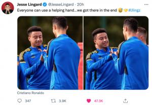Ronaldo học cách mừng bàn thắng của Lingard